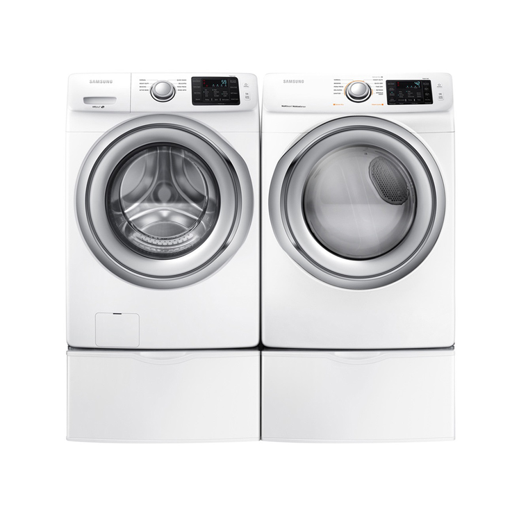 4.5 cu. ft. Front Load Washer & 7.5 cu. ft. Electric Steam Dryer With Pedestals