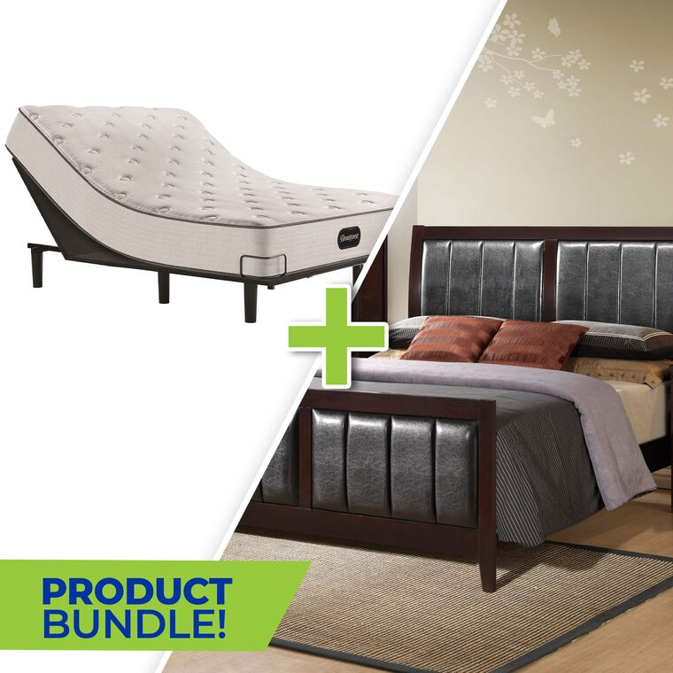 7-Piece Lawrence Queen Bedroom with Beautyrest Adjustable Power Base and Tight Top Medium Firm Mattress