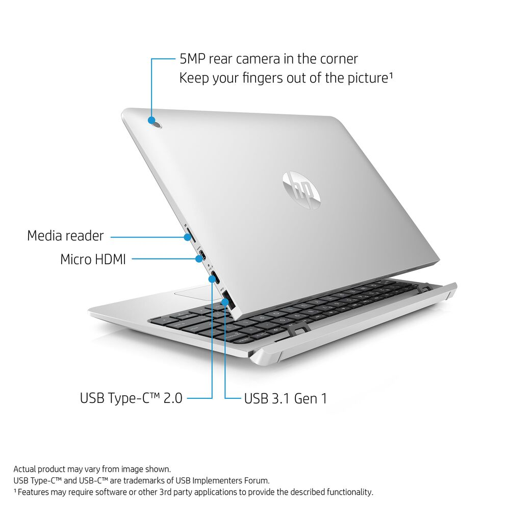 """10"""" 2-in-1 Detachable Laptop with Microsoft Office 365 Personal and Total  Defense Internet Security"""