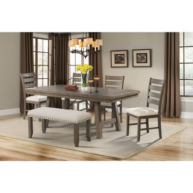 6-Piece Jax Dining Room Collection with Wood Chairs & Bench