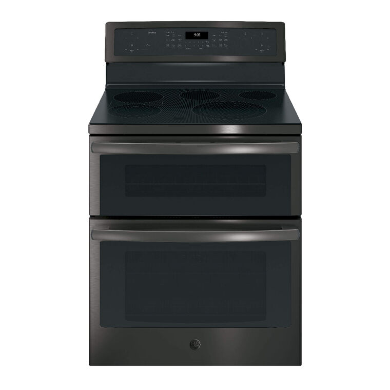 6.6 cu. ft. Self Cleaning Electric Double Oven Convection Range with Ceramic Cooktop - Black Stainless Steel