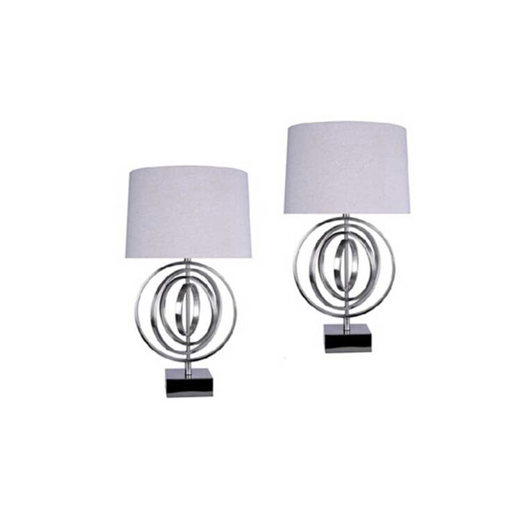 Brushed Nickel Circles Table Lamp (Set of 2)
