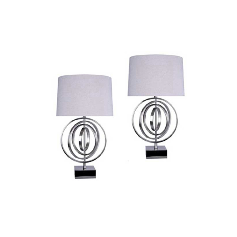 Brushed Nickel Circles Table Lamp (Set of 2) | Tuggl