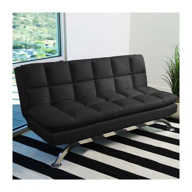 Vienna Black Leather Euro Lounger