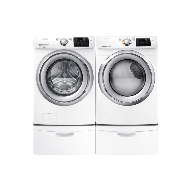 4.2 cu. ft. Front Load Washer & 7.5 cu. ft. Electric Steam Dryer with Pedestals | Tuggl