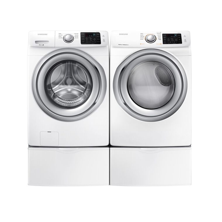 4.5 cu. ft. Front Load Washer & 7.5 cu. ft. Gas Steam Dryer With Pedestals