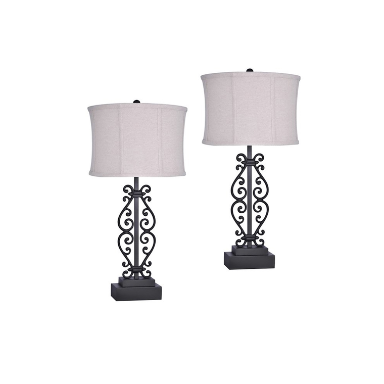 Rust Iron Metal Table Lamp (Set of 2)