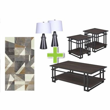 6-Piece Micah Tables, Poly Grey Lamps and Framework Rug Bundle