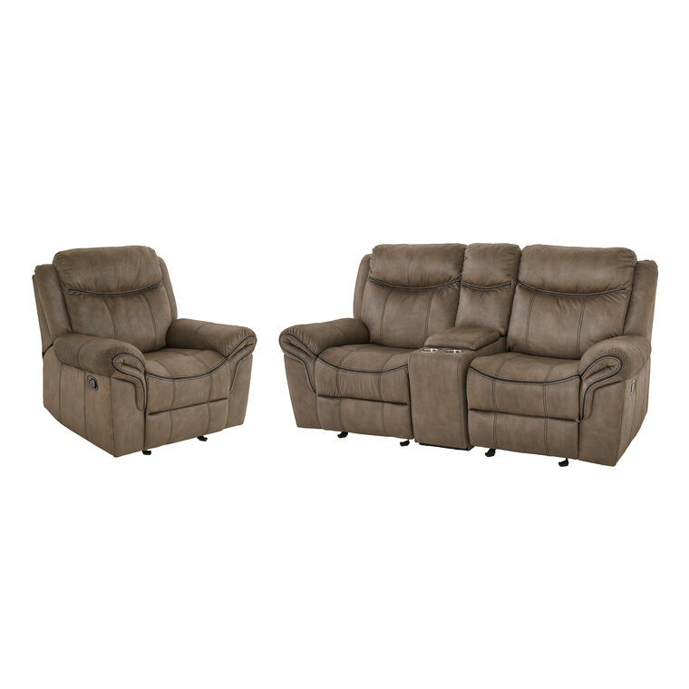 2-Piece Knoxville Reclining Lovseat and Recliner