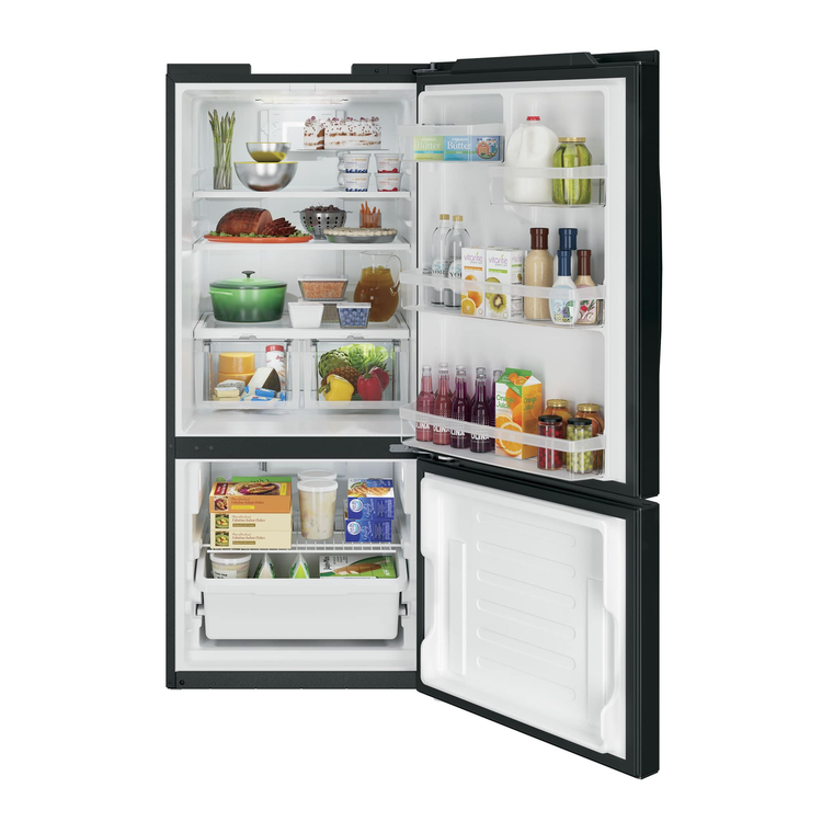 21 cu. ft. Energy Star Bottom-Freezer Refrigerator - Black