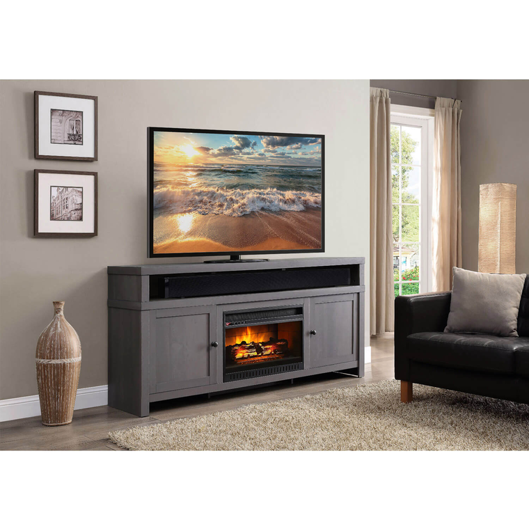 "72"" Weathered Gray Fireplace TV Console with 26"" Firebox"