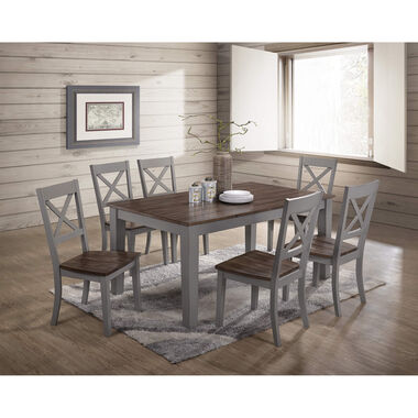 7-Piece A La Carte Gray Rectangle Dining Room Collection
