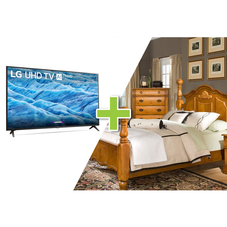 "43"" Class 4K UHD Smart TV and 7-Piece Bryant Queen Bedroom Collection"