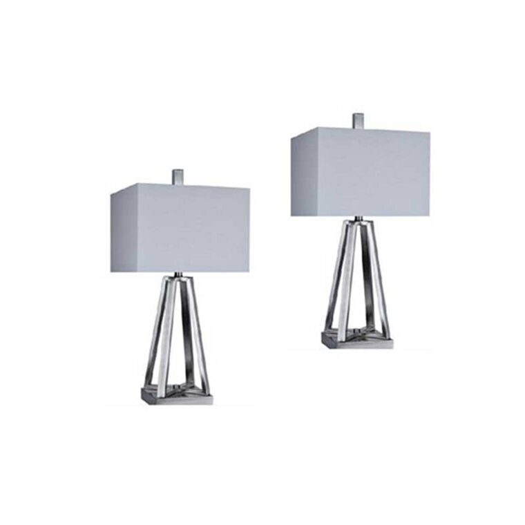 Brushed Coal Modern Table Lamp (Set of 2)