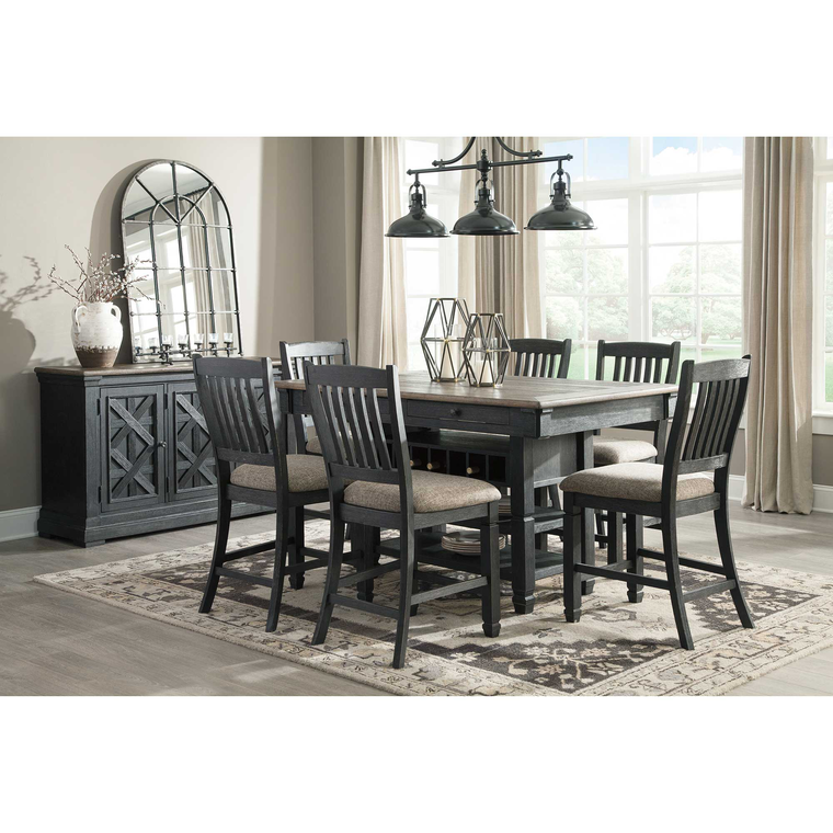 8-Piece Tyler Creek Counter Height Dining Room with Server/Buffet