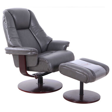 Lund Leather Recliner & Ottoman - Charcoal