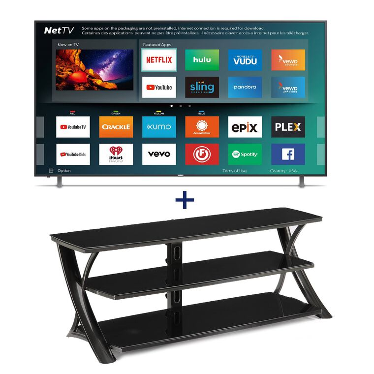 "55"" Class (54.6"" Diag.) Smart 4K UHD TV & 65"" TV Console Bundle"