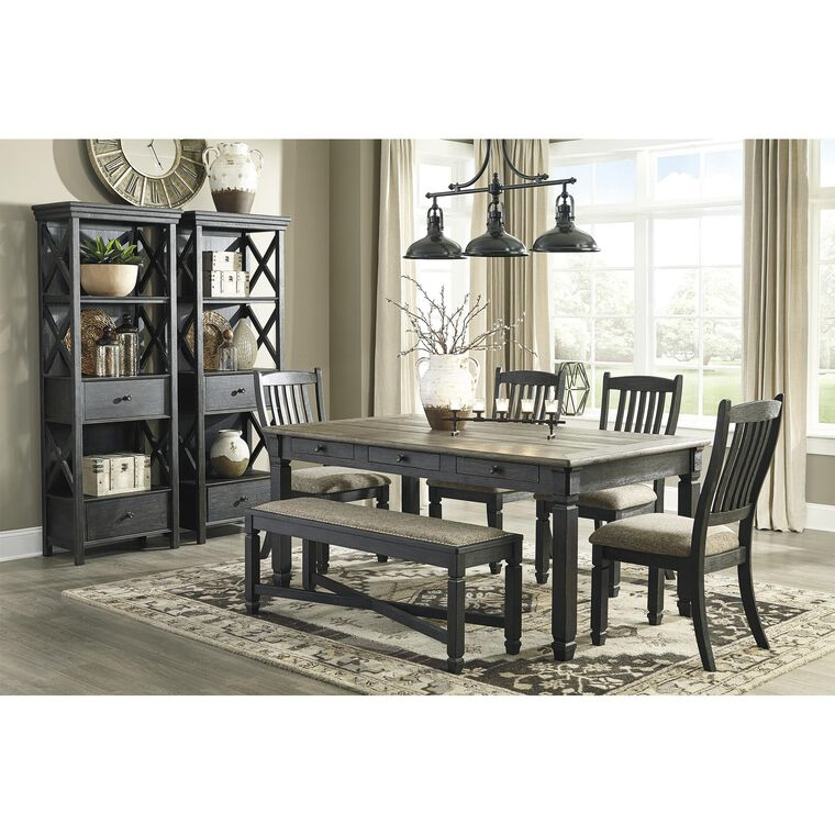8-Piece Tyler Creek Dining Room With Display Cabinets