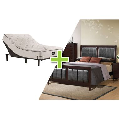 7-Piece Lawrence Queen Bedroom Plus Beautyrest Adjustable Power Base and Tight Top Medium Firm Mattress