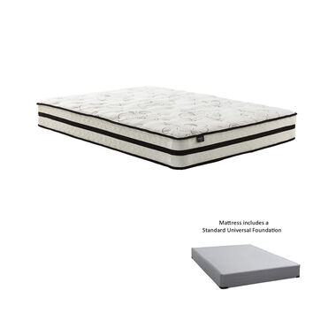"10"" Tight Top Medium Queen Hybrid Boxed Mattress with 9"" Foundation & Protectors"