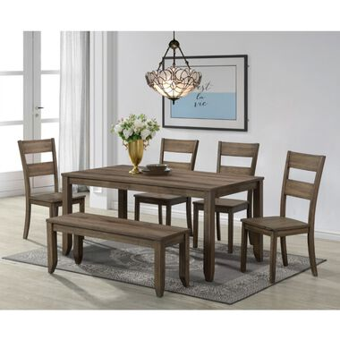 6-Piece Sean Brown Dining Set with 4 Chairs & Bench
