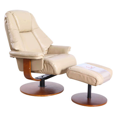 Lund Leather Recliner & Ottoman - Cobble