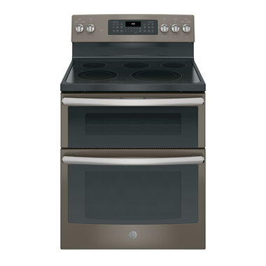 "30"" Electric Double Oven Convection Range with Ceramic Cooktop - Slate"