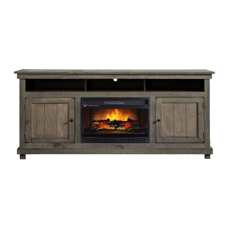 """72"""" Rustic Pine Fireplace TV Console with 26"""" Firebox"""