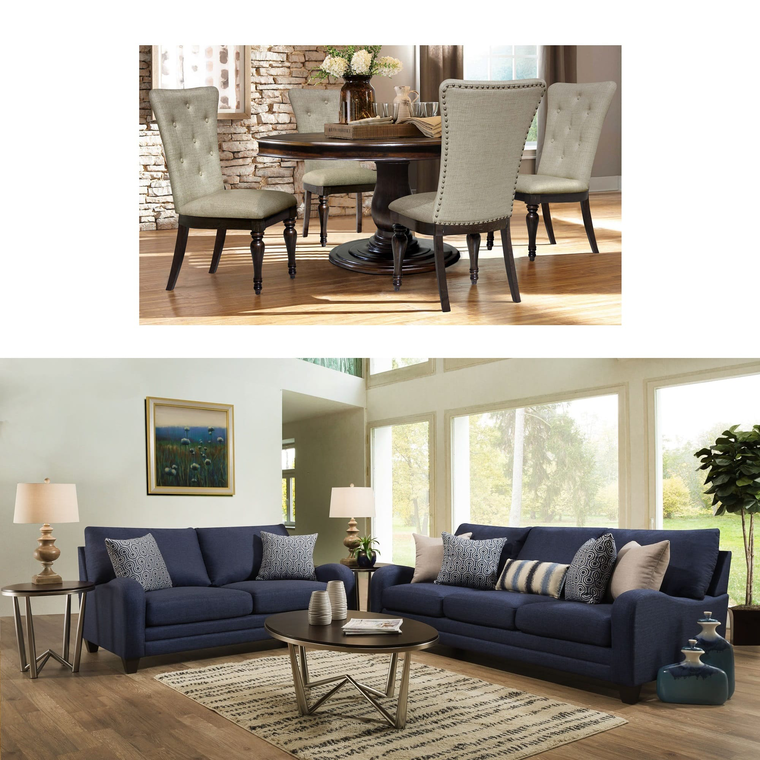 5-Piece Belmont Dining with Franklin 2-Piece Ace Living Room Bundle