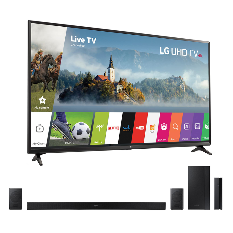 "49"" Class (48.5"" Diag) Smart 4K UHD TV & 200W 4.1Ch Sound Bar Bundle"