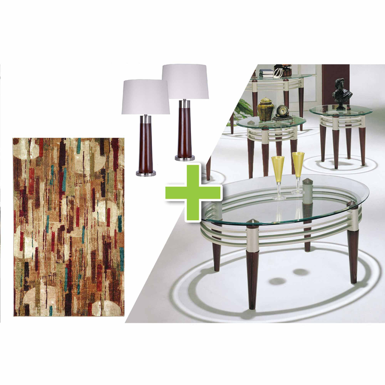 6-Piece Marseilles Tables, Wood Finish Lamps and Facet Rug Bundle