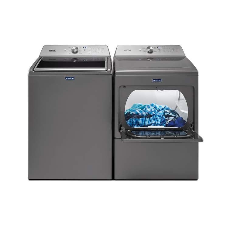 4.7 cu. ft. Top Load Washer & 7.4 cu. ft. Large Capacity Electric Dryer - Chrome Shadow