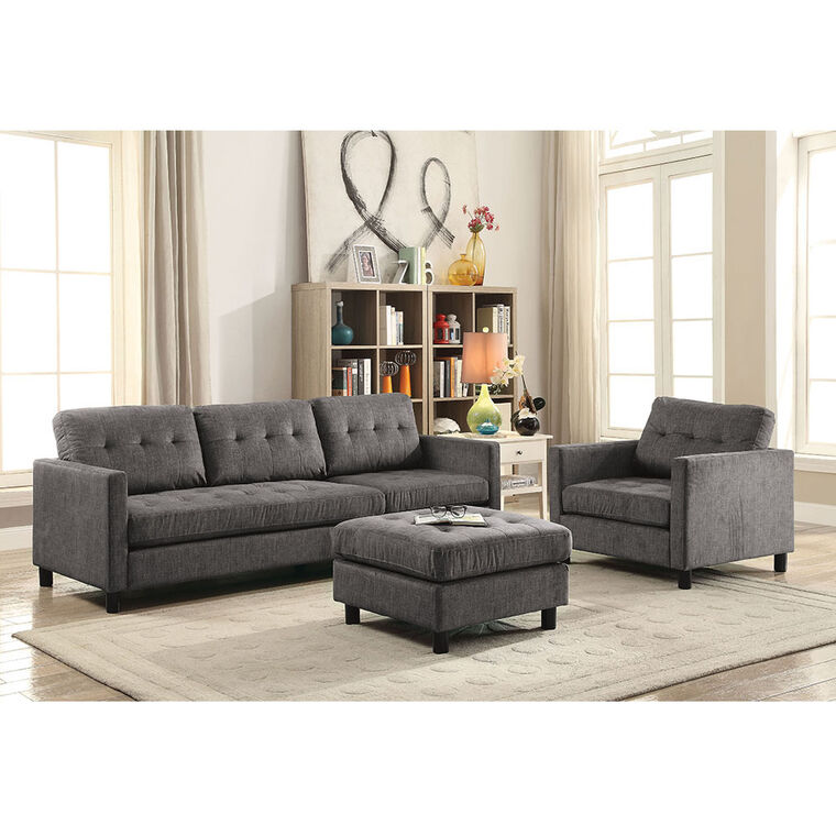 3-Piece Ceasar Modular Sofa, Chair & Ottoman Living Room Collection