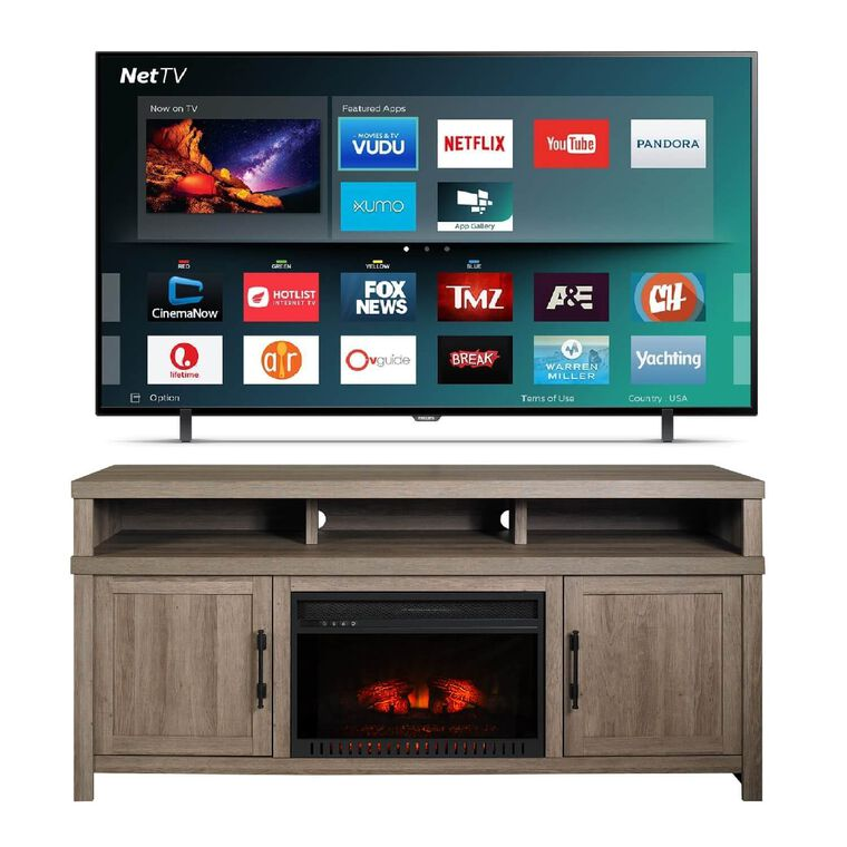 "75"" Class Smart 4K UHD TV with 72"" Mystic Oak Fireplace TV Console"