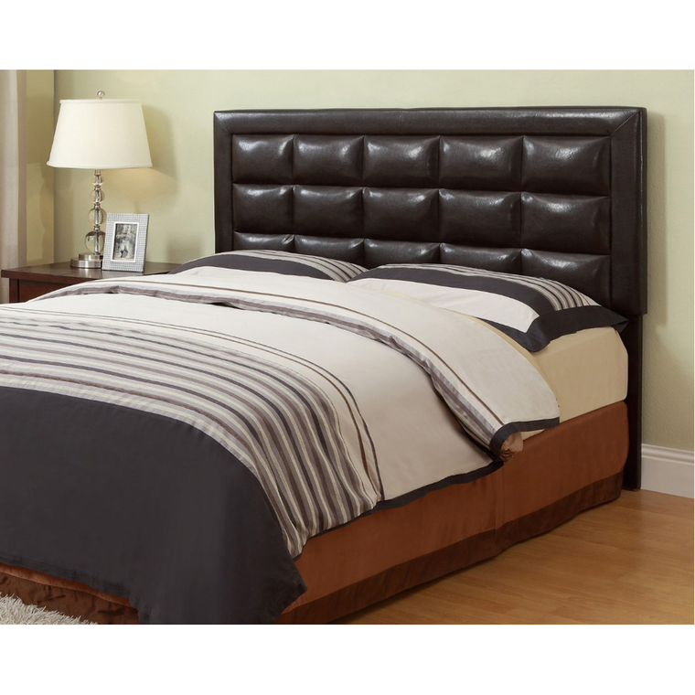 Queen Faux Leather Headboard with Tight Top Mattress and Base