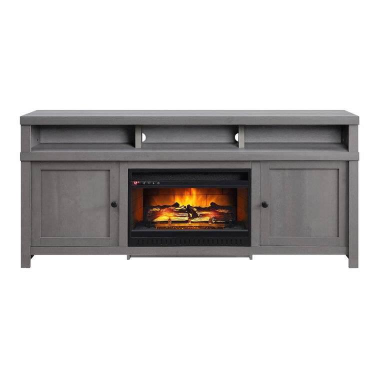 """72"""" Weathered Gray Fireplace TV Console with 26"""" Firebox"""