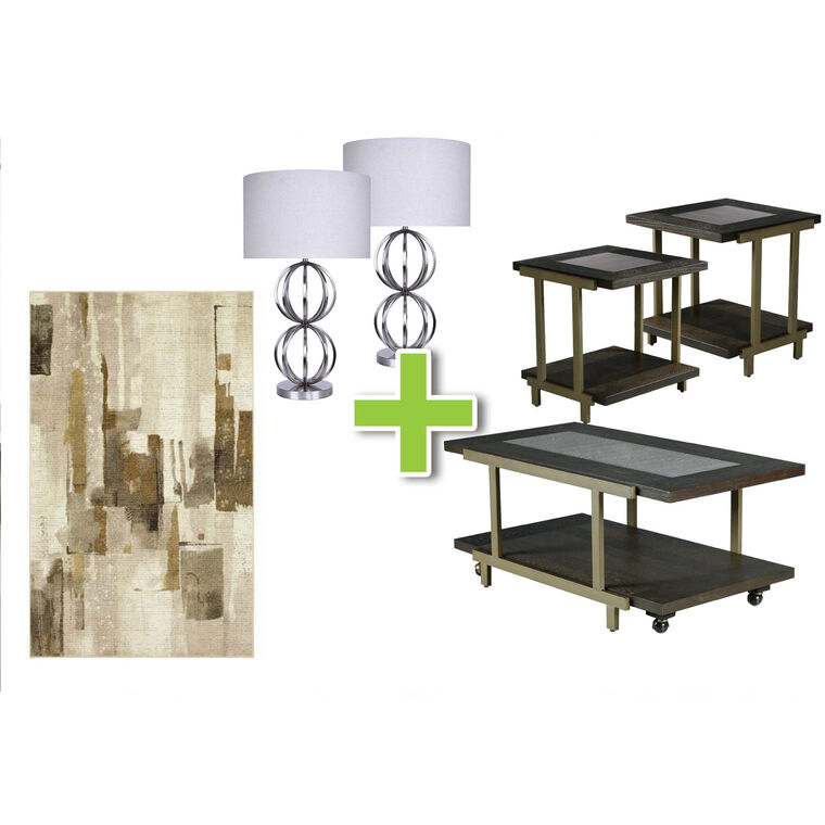 6-Piece Terrell Tables, Brushed Nickel Lamps and Mohawk Area Rug Bundle