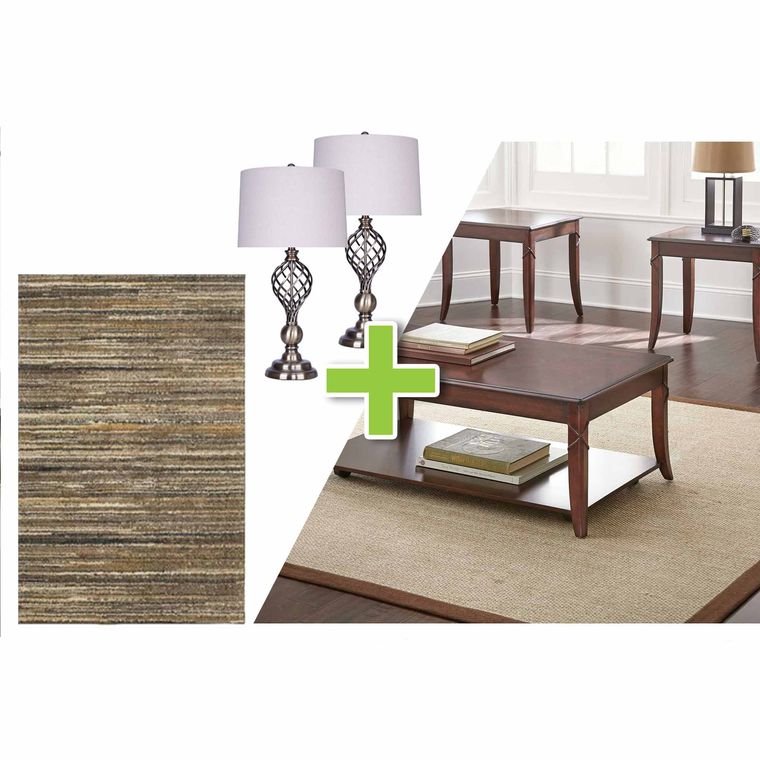 6-Piece Draco Tables, Metal Lamps and Tubac Rug Bundle
