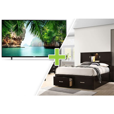"50"" Class 4K UHD Smart TV and Dalton Queen Platform Storage Bedroom Bundle"