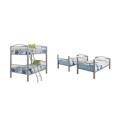 5-Piece Twin Metal Bunk Bed & Mattress Set