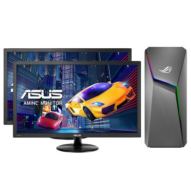 """ROG Strix GL10 Gaming Desktop with Two 22"""" Gaming Monitors and Total Defense Internet Security"""