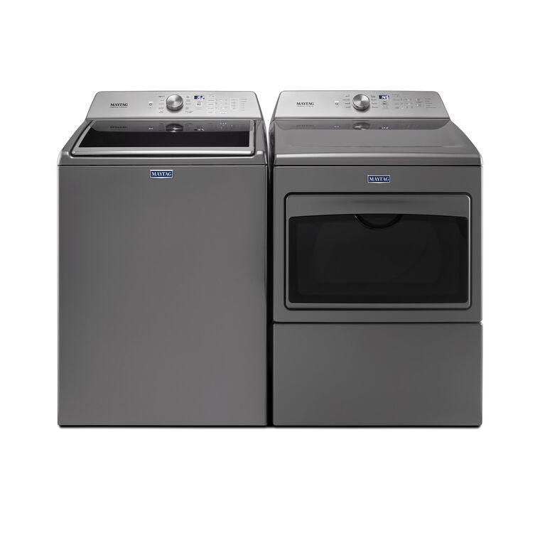 4.7 cu. ft. Top Load Washer & 7.4 cu. ft. Large Capacity Gas Dryer - Chrome Shadow
