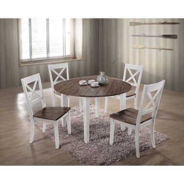 5-Piece A La Carte White Round Dining Room Collection