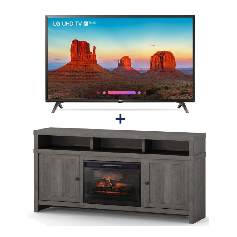 "55"" Class (54.6"" Diag.) Smart 4K UHD TV & 72"" Fireplace TV Console Bundle"