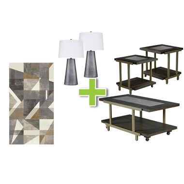 6-Piece Terrell Tables, Poly Lamps and Framework Rug Bundle