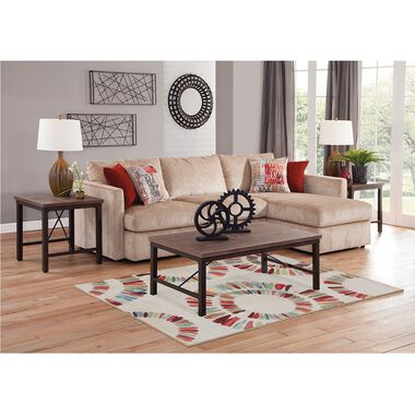 2-Piece Cassie Chaise Sofa Sectional Living Room Collection