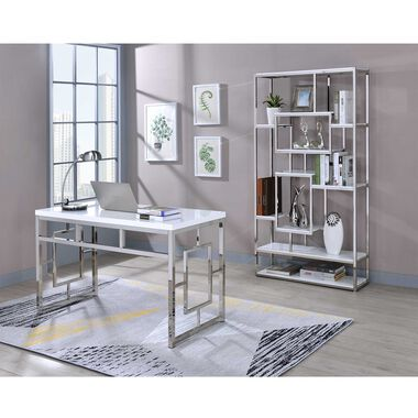 2-Piece Alize White Desk and Bookshelf Set