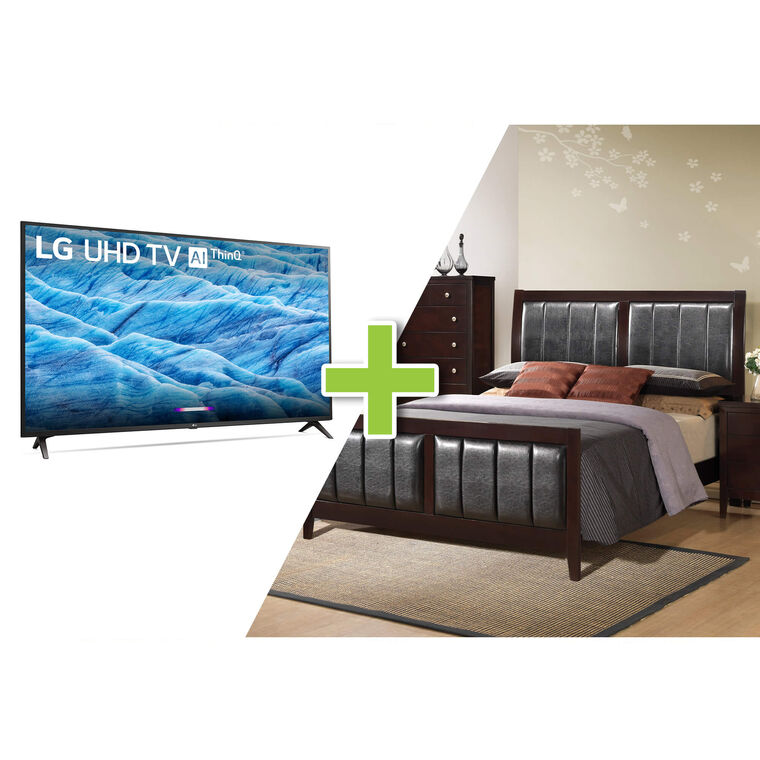 "43"" Class 4K TV and 7-Piece Lawrence Queen Bedroom with Tight Top Mattress"