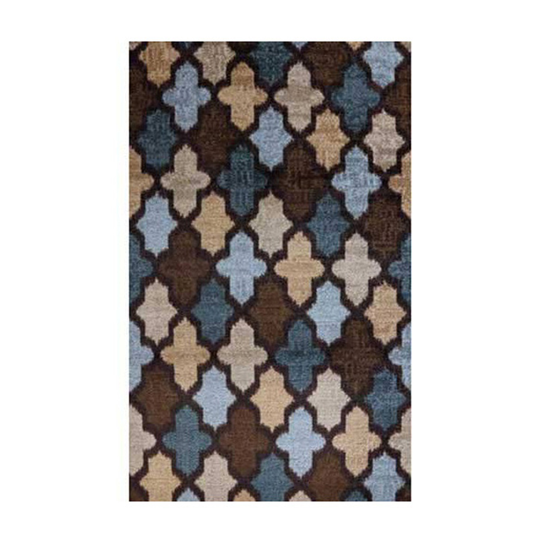 Ikat Brown and Blue Area Rug