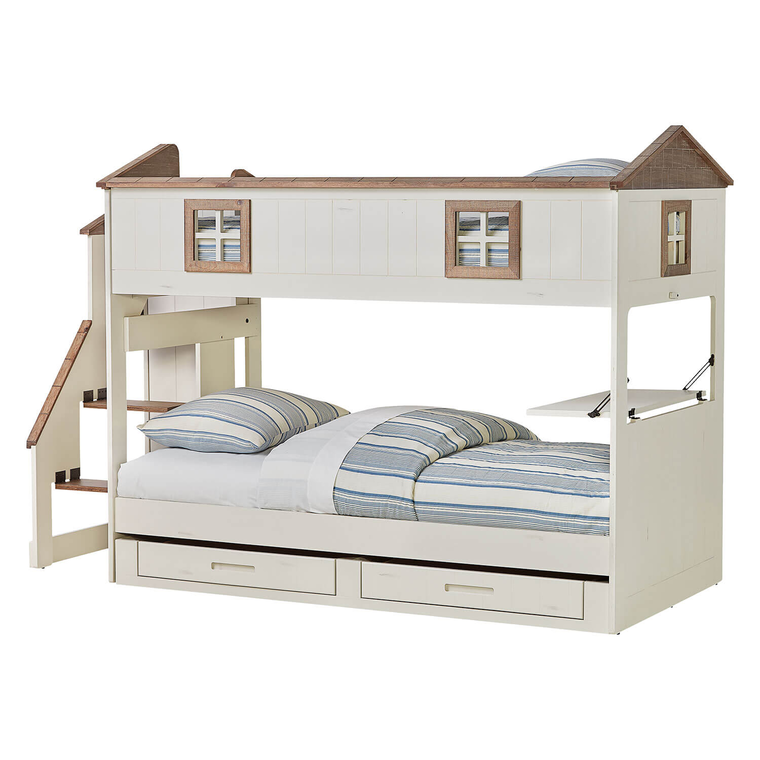 Home Sweet Home Twin Over Twin Storage Bunk Bed with Mattresses